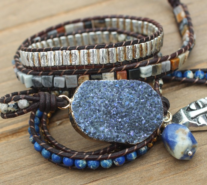Big Druzy Leather Wrap Bracelet 5 wrap multi color Beaded Boho Jewelry
