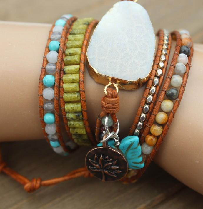Leather Wrap Bracelet Beaded 5 wrap bracelet huge Fossil Coral Stone Boho