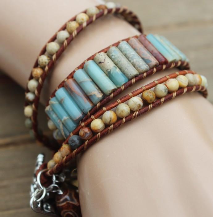 Jasper Leather wrap Bracelet Earth Tone Wrap Jewelry gifts by KnottedUp