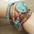 Leather Wrap Bracelet Beaded Aqua Jasper Stone Bracelet Boho jewelry Bohemian
