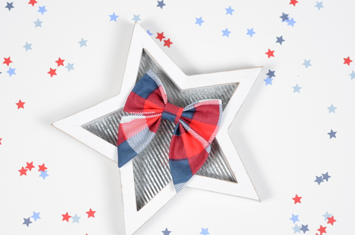 Jane Bow - 4th of July Collection - Patriotic Plaid