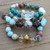Set of 3 Chunky Stacking Bracelets Aqua & Brown by KnottedUp