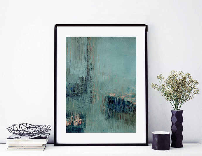 Acrylic turquoise abstract, original painting beige navy teal , navy turquoise