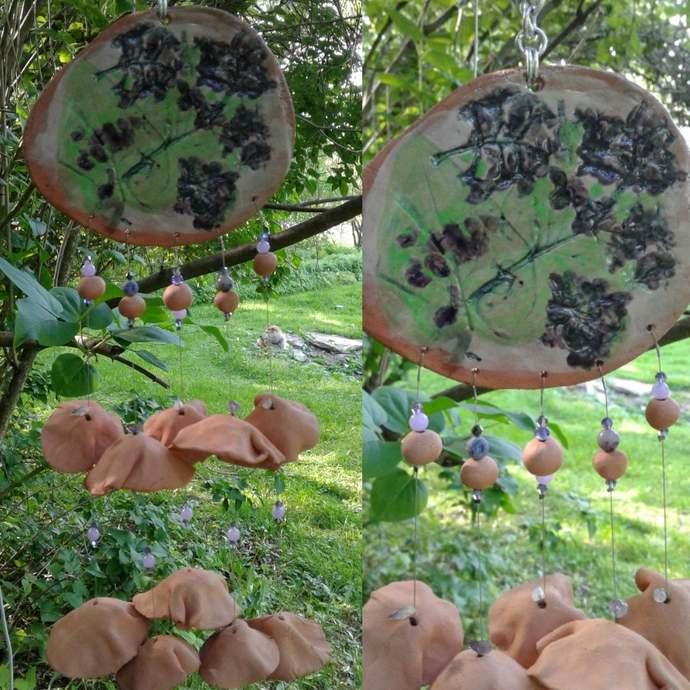 Terra Cotta Wind Chime Pottery Chimes Garden Mobile Decor Hanging Ceramic .2
