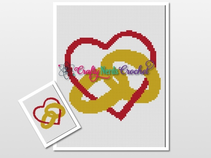 Solid Rings Linked With Heart Pattern Graph With C2C Written