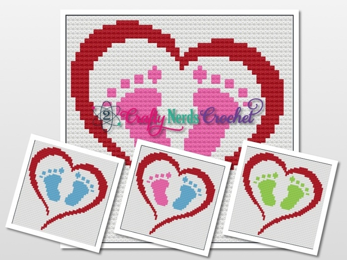 Baby Feet In Heart 50x50 Pattern Graph With C2C Written