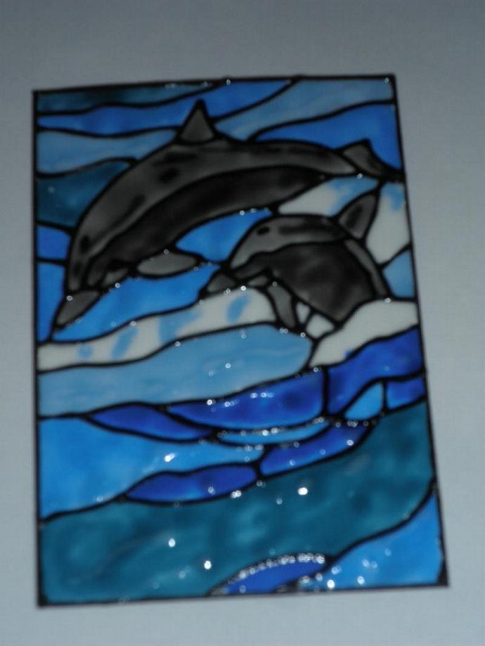 Original Hand-painted like stained glass ACEO Dolphins