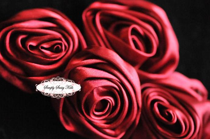 ~ Wine ~  2 inch Satin Rolled Rosettes ~ Perfect roses for DIY fashion or