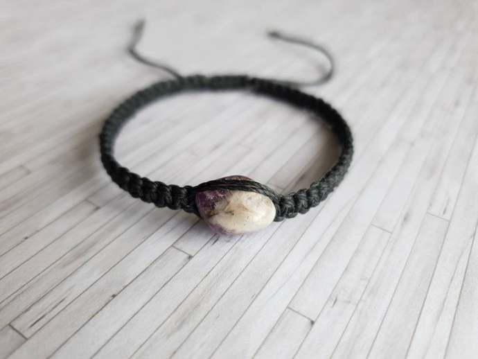 Purple Gemstone Bracelet - Gemstone Adjustable Bracelet - New Age Crystal