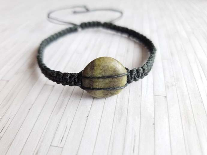 Green Gemstone Bracelet - Gemstone Adjustable Bracelet - New Age Crystal Jewelry