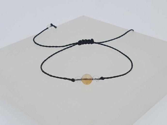 Citrine Quartz Bracelet   raises self-esteem - releases negative traits,