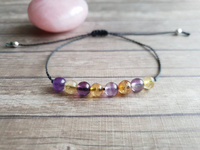 Amethyst Citrine bracelet | overcoming addictions ~ supports metabolism + weight