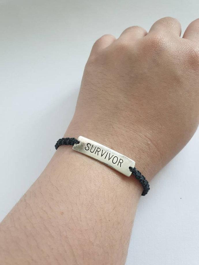 survivor charm bracelet ~ adjustable bracelet ~ stacking bracelet ~ layered