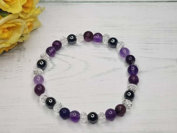Amethyst bracelet & Hematite bracelet ~ Addiction Bracelet ~ Lepidolite bracelet