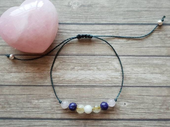 Kunzite Anxiety bracelet   Stress Relief, calming ~ Rutilated Quartz bracelet,
