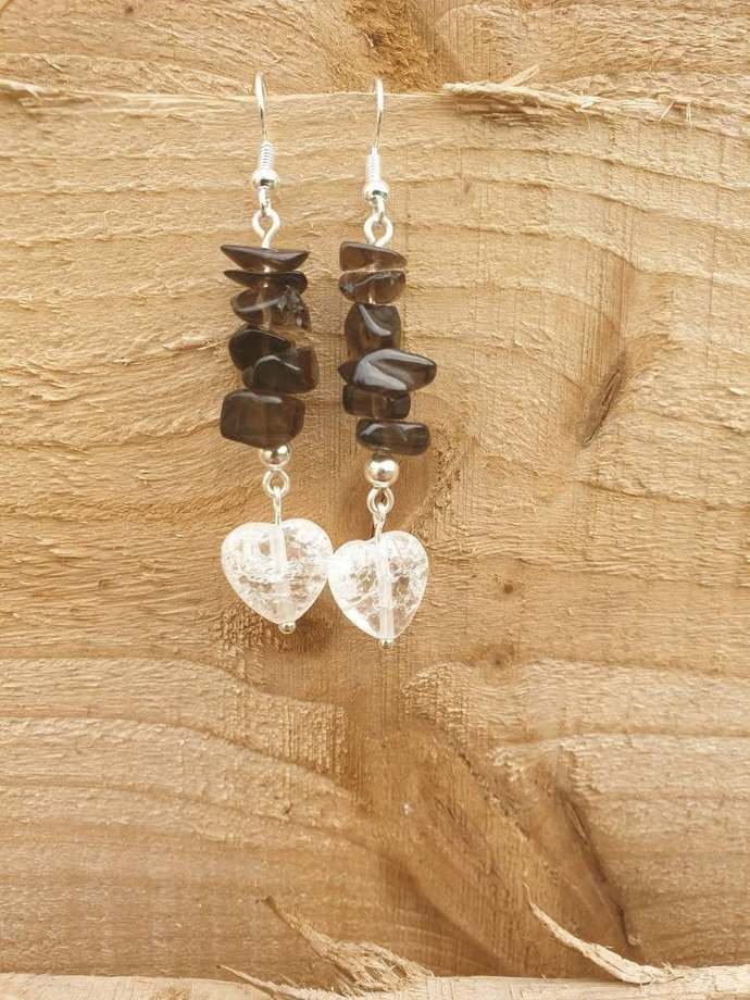 Smoky Quartz earrings ~ grounding ~ disperses fear, lifts depression ~ relieving