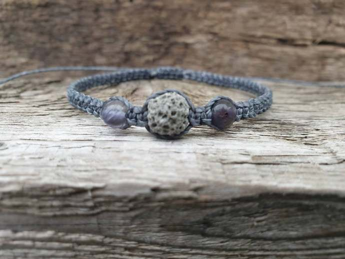 Grey Lava Stone Bracelet ~ Lava Diffuser | Power ~ Inner strength ~ Leadership ~