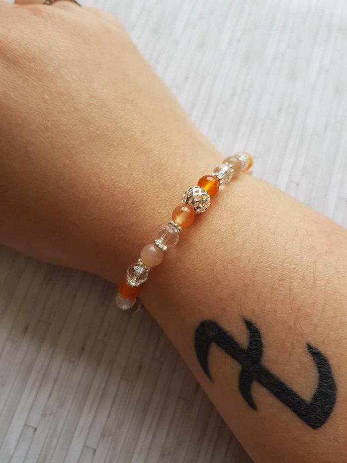 Sacral Chakra Bracelet   Carnelian bracelet ~ Sunstone bracelet ~ creativity and