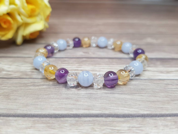 Amethyst bracelet & Citrine bracelet ~ Fibromyalgia Bracelet ~ Blue Lace Agate