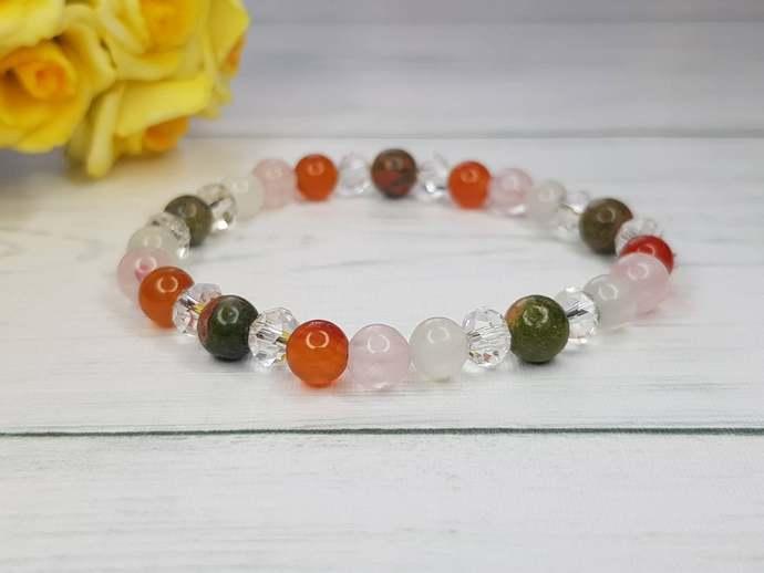 Carnelian bracelet & Moonstone bracelet ~ Rose Quartz bracelet ~ Fertility