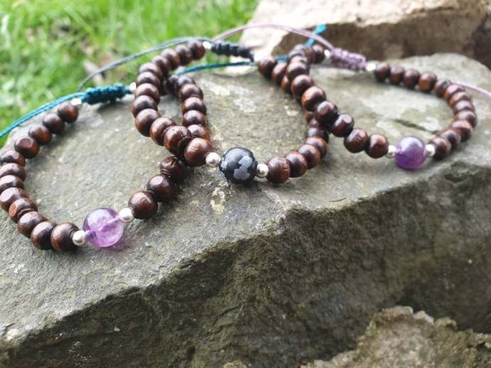Wood & Fluorite bracelet ~ mental clarity ~ improved decision making ~ aids in