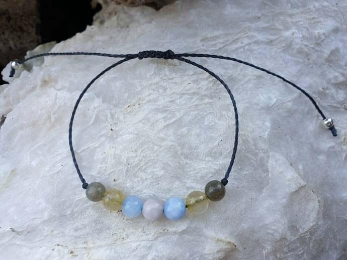 Anxiety Bracelet ~ Labradorite Bracelet ~ Angelite jewellery ~ Rutilated Quartz