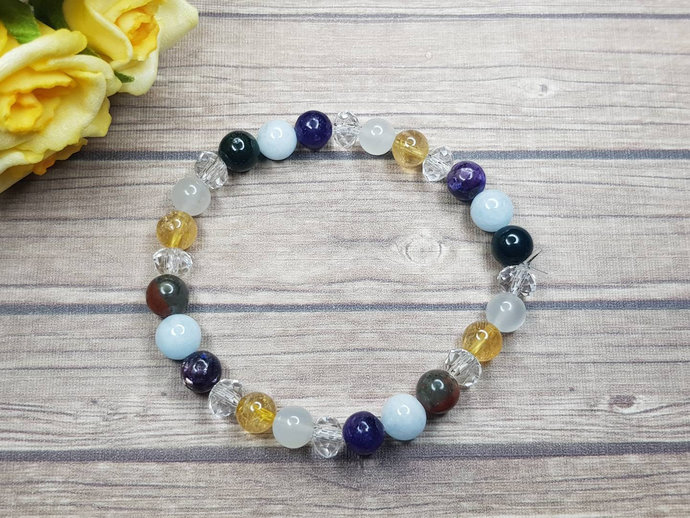 Moonstone Bracelet with Citrine, Bloodstone & Lepidolite - Beaded Bracelet -