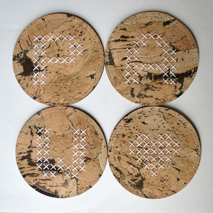 Round cork coasters with initial (set of 4 or 6) - personalised coaster set -