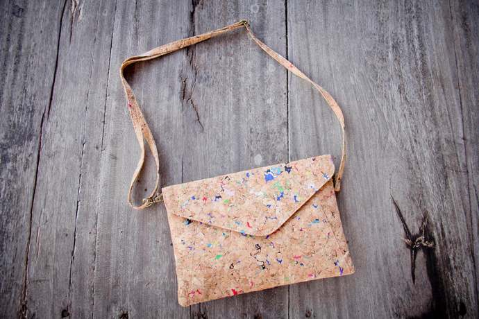 Handbag made from cork with color dots, clutch - handmade and vegan