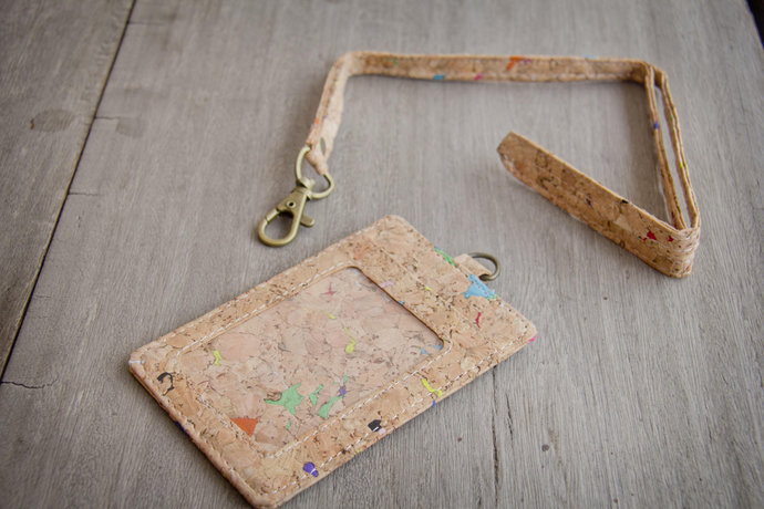 ID-Card Holder made from cork with color dots, keychain-case, handmade and vegan