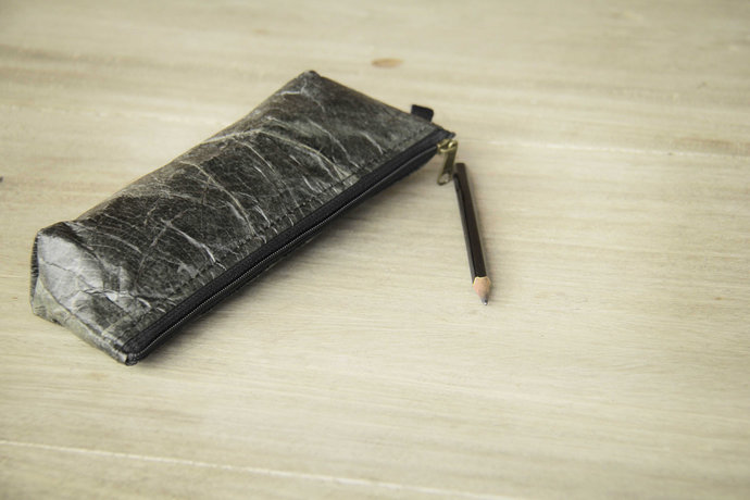 Pencil case made of recycled leaves in black, laminated, cosmetic bag - handmade