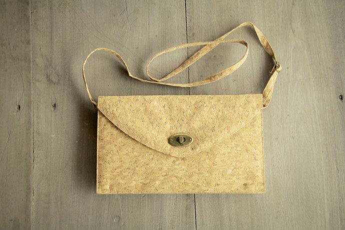 Handbag made from cork, clutch, handmade and vegan cork bag