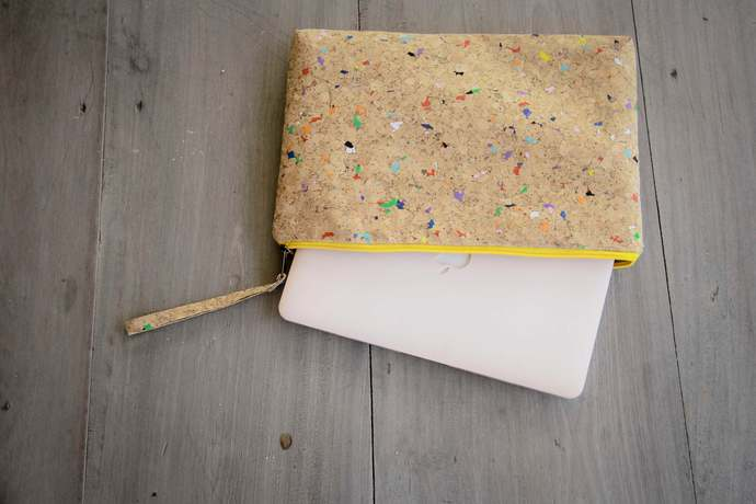 Laptop Case for MacBooks 15 - 16 inch made from cork with color dots, laptop