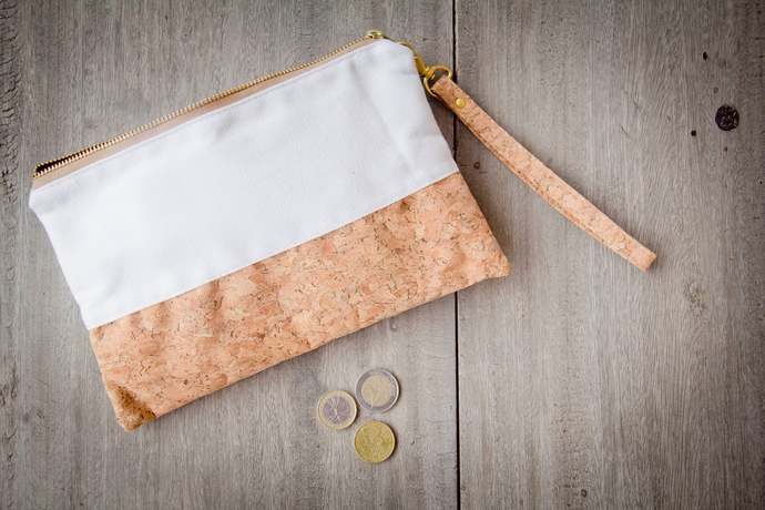 Small bag made from cork, handcrafted cosmetic / pencil bag, vegan