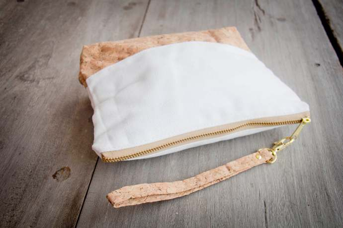 Cork bag, Small recycled cork bag, Cosmetic bag