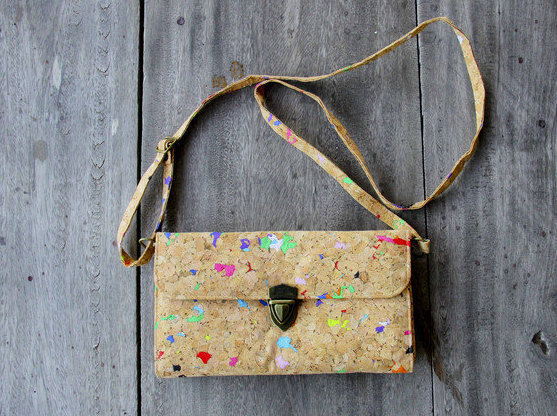 Handbag, Cutch handmade from cork with color dots and adjustable shoulder strap,
