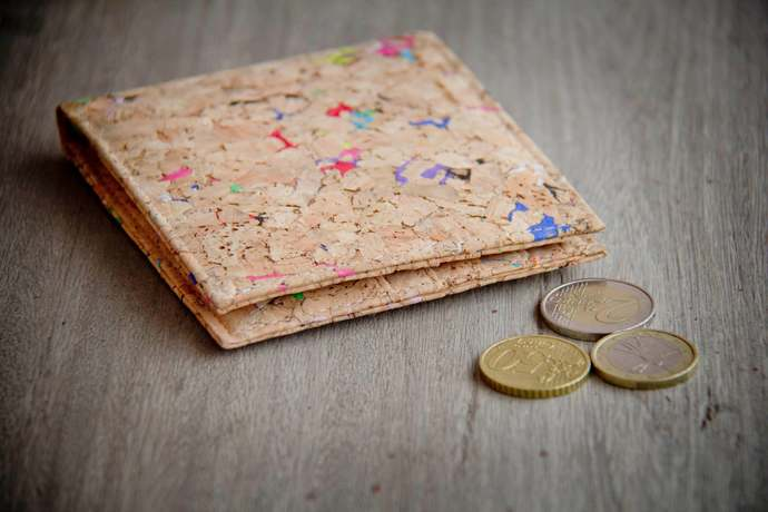 Wallet made from cork with color dots, handmade and vegan