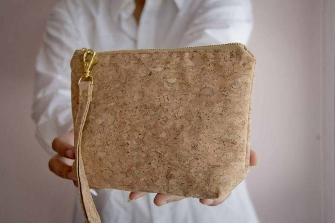 Small Cosmetic Bag, pencil case made from cork, handmade and vegan