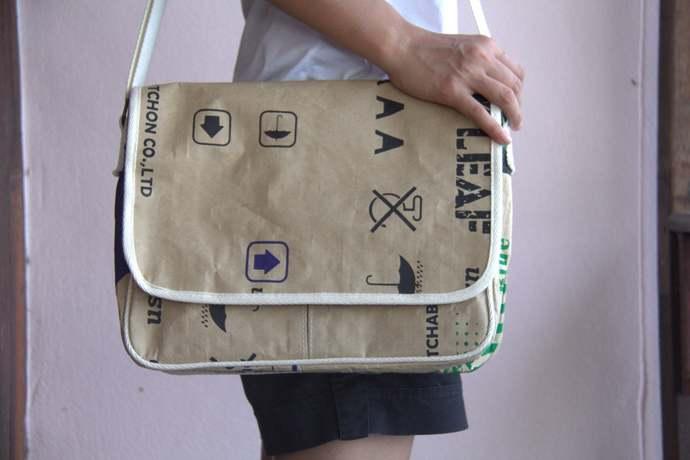 Messenger Bag, handmade of water-resistant recycled paper, vagan