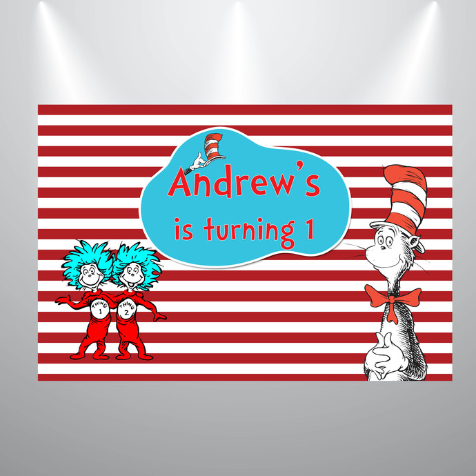 Printed Backdrop- Cat in the Hat- Dr Seuss Birthday or Baby SHower Backdrop