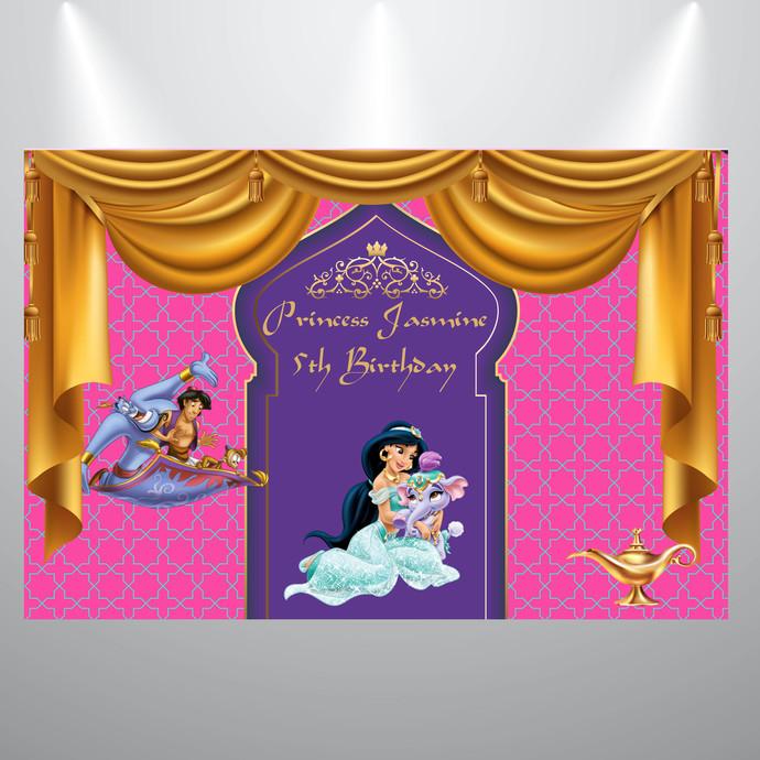 Printed Backdrop- Aladdin- Princess Jasmine Birthday Backdrop