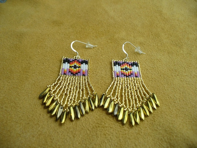 """Native American Style Square Stitched dainty little """"Two Feathers"""" Earrings in"""