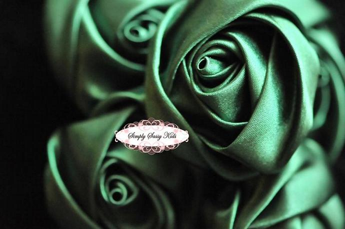 ~ Emerald~  2 inch Satin Rolled Rosettes ~ Perfect roses for DIY fashion or