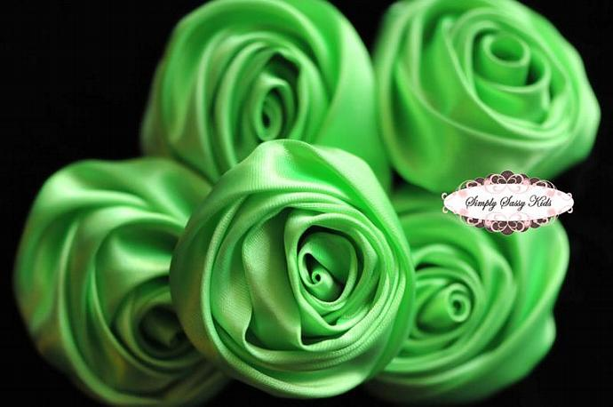 ~ Chartreuse ~  2 inch Satin Apple Green Rolled Rosettes ~ Perfect roses for