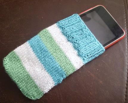 Hand Knitted iPod Cozy in Blues and Green