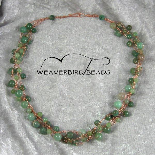 Green aventurine copper wire necklace
