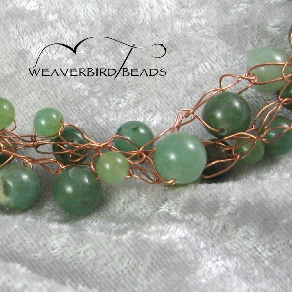 Green aventurine copper wire necklace