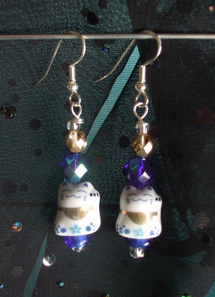 Maneki Neko Lucky Cats with Blue Accents Earrings