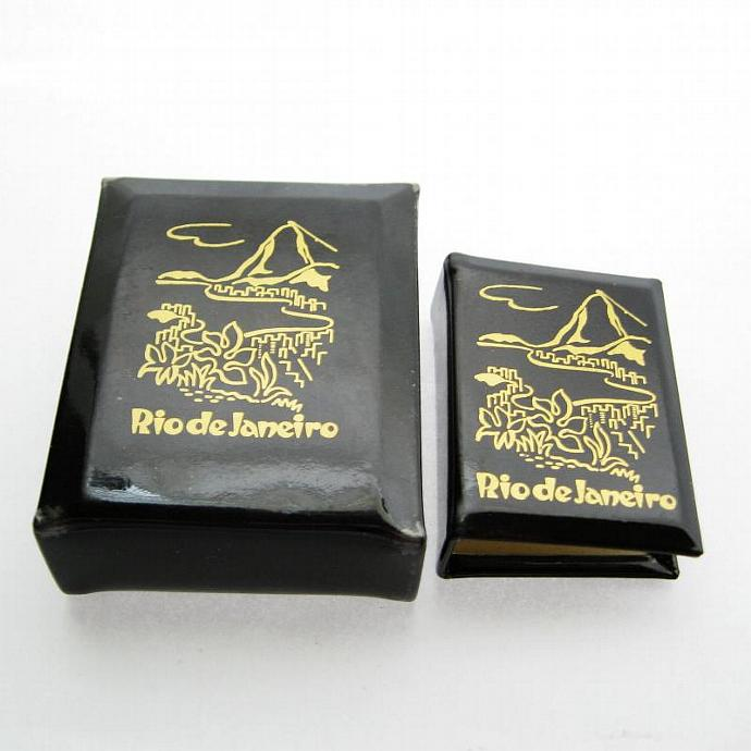 Vintage Souvenir Rio Brazil Cigarette Pack Holder w Match Book Cover Set