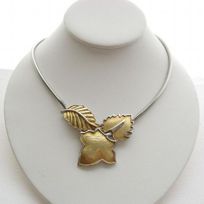3 Leaf Collar Bib Pendant Necklace with Snake Chain Mixed Metal Gold Tone and